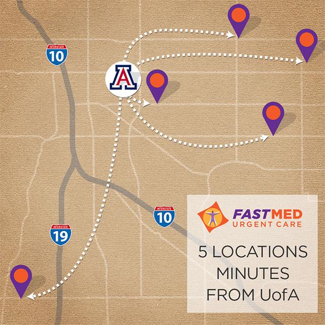FastMed Urgent Care locations near the University of Arizona, Tucson