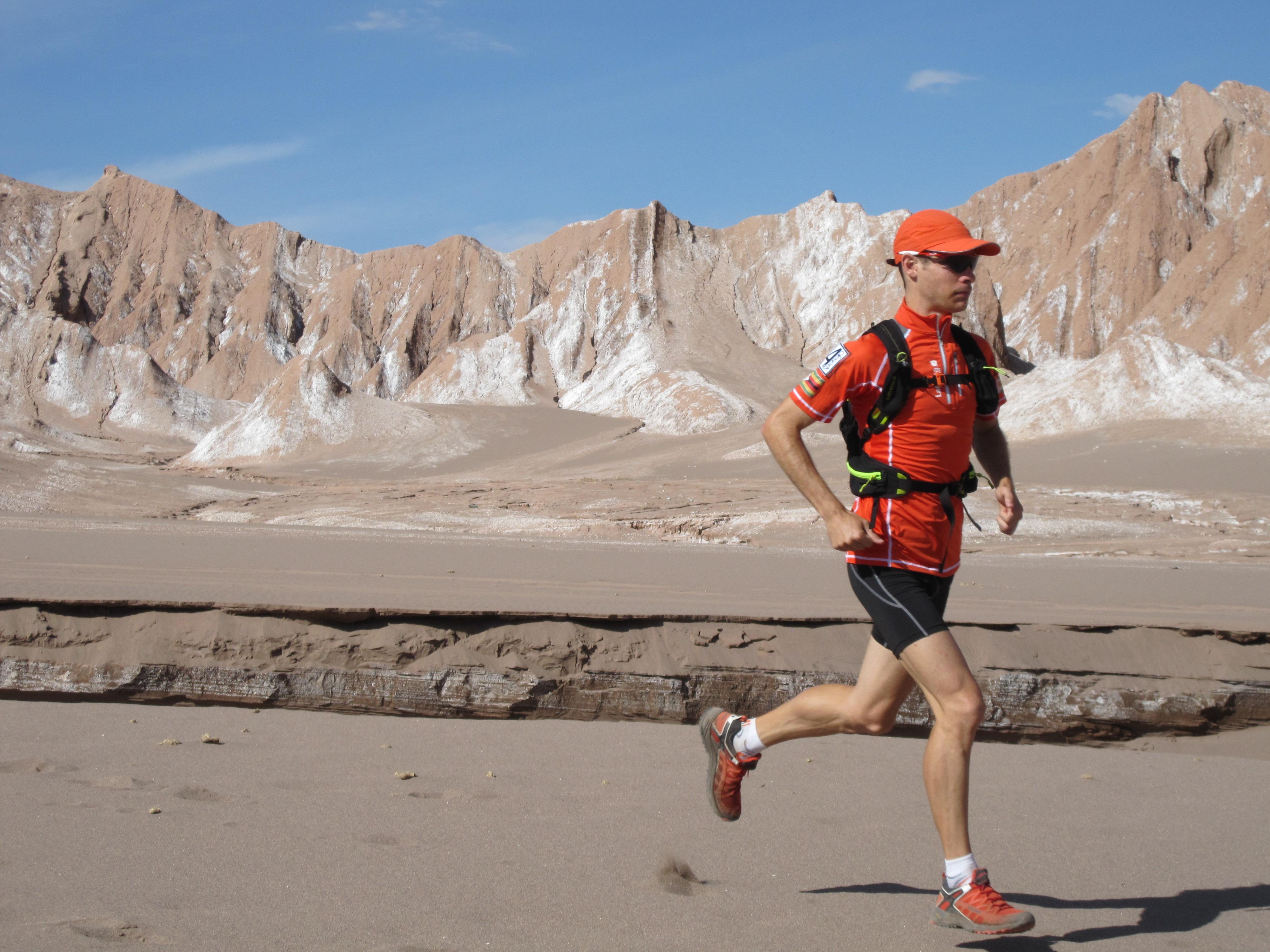 man running in the heat