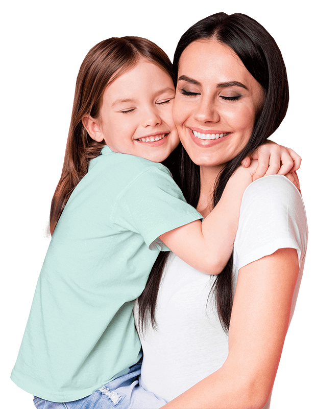 A Happy daughter hugs her mother