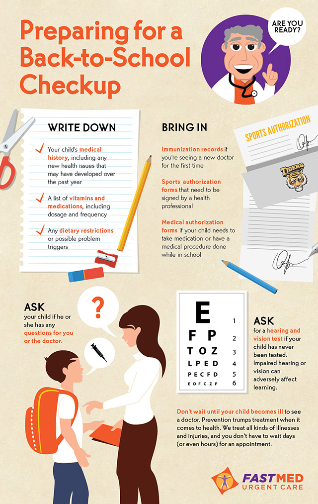 preparing for back-to school checkup infographic