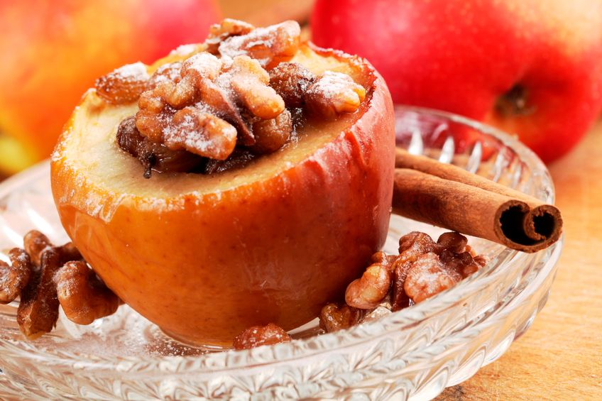 Baked apple stuffed with raisins and nuts.