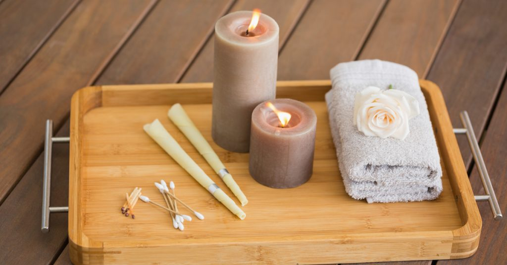 Tray of ear candling equipment