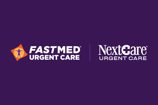 Picture of White FastMed Logo & NextCare Logo on Purple Background