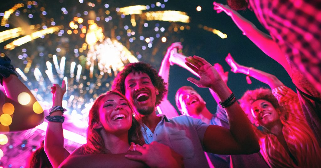 Picture of friends celebrating and watching fireworks.