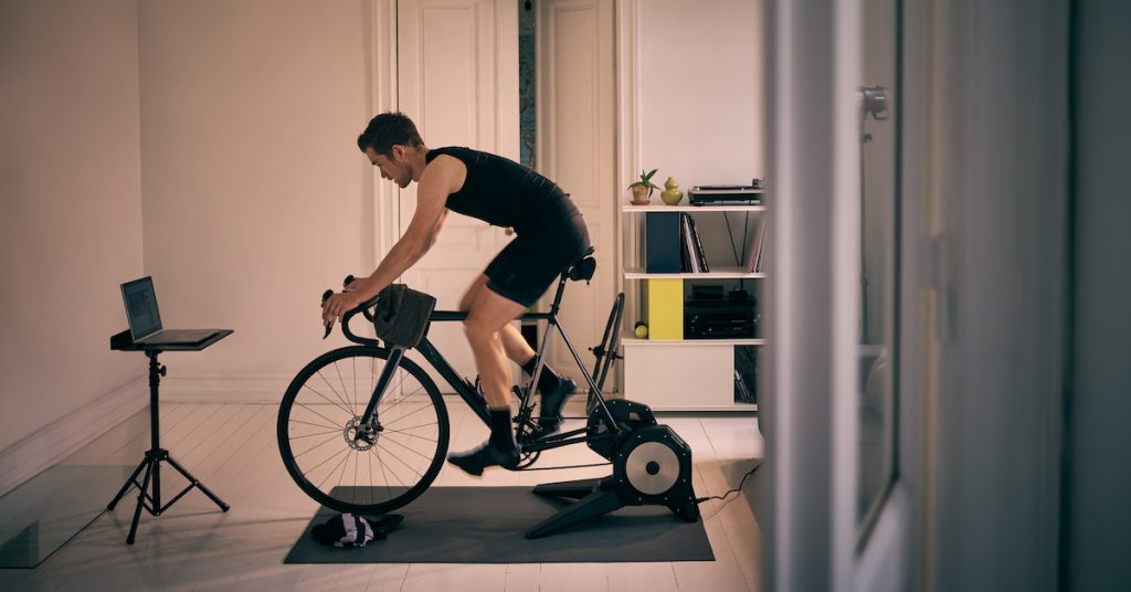 Picture of man exercising indoors.