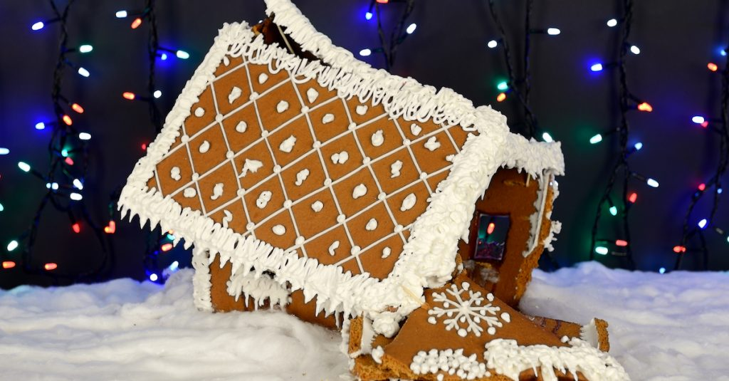 Picture of a crashed gingerbread house
