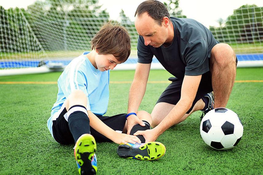 boy with soccer injury